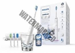 Philips Sonicare DiamondClean Smart Elektrische Zahnbürste mit Schalltechnologie HX9924/03, Ladeglas, USB-Etui, weiß