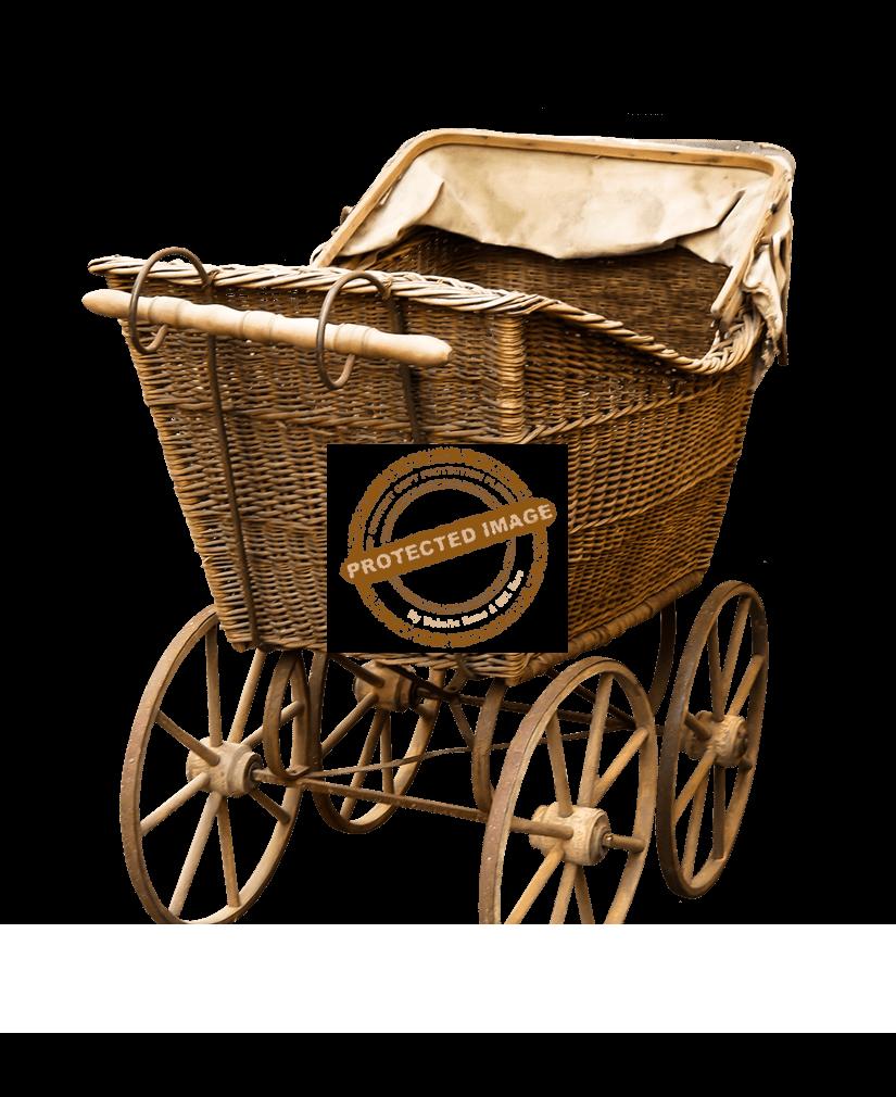Vintage Kinderwagen aus Korkenzieherweide
